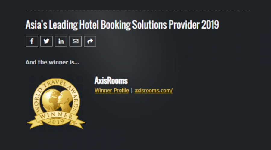 AxisRooms wins World Travel Awards for Asia's Leading Hotel Booking Solutions Provider 2019